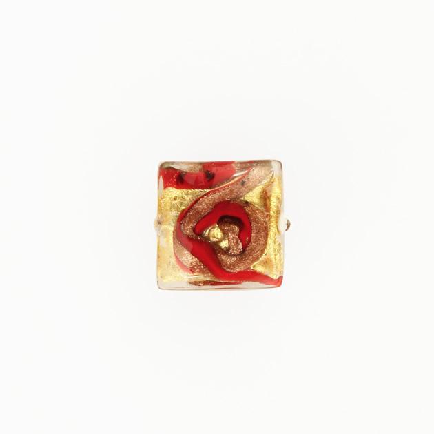 Perla di Murano quadrata Medusa Ø14. Vetro bianco rosso, foglia oro e avventurina. Foro passante.