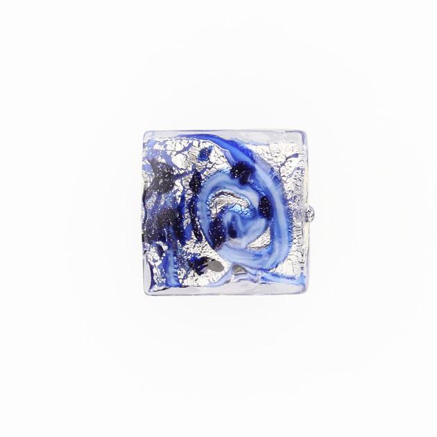 Perla di Murano quadrata Medusa Ø18. Vetro blu, foglia argento e avventurina. Foro passante.