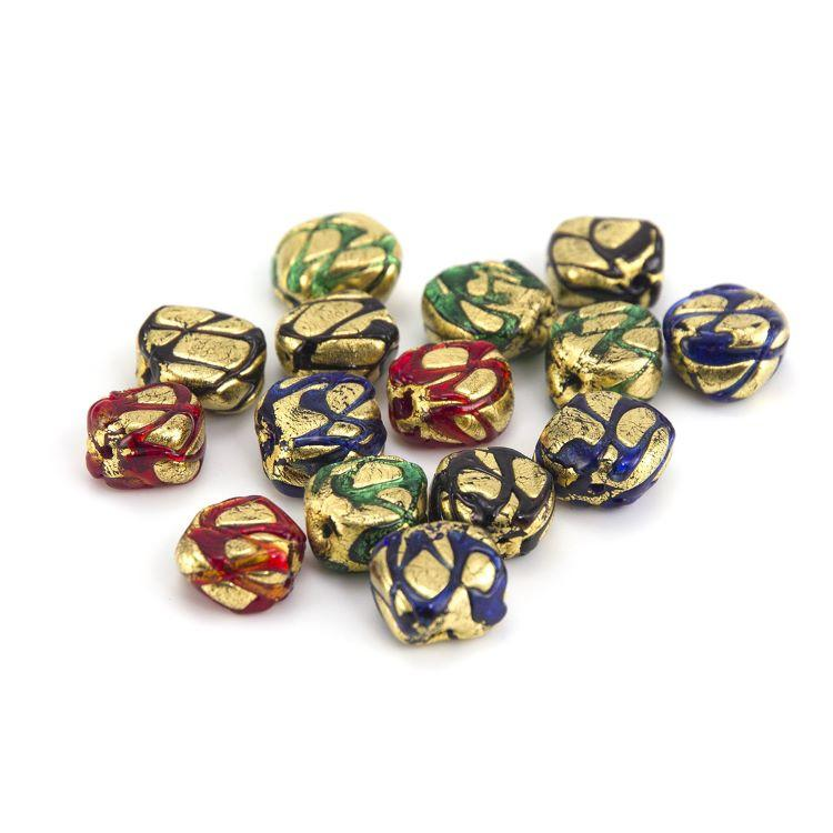 Perla di Murano sasso 12 mm vetro colorato maculato foglia oro