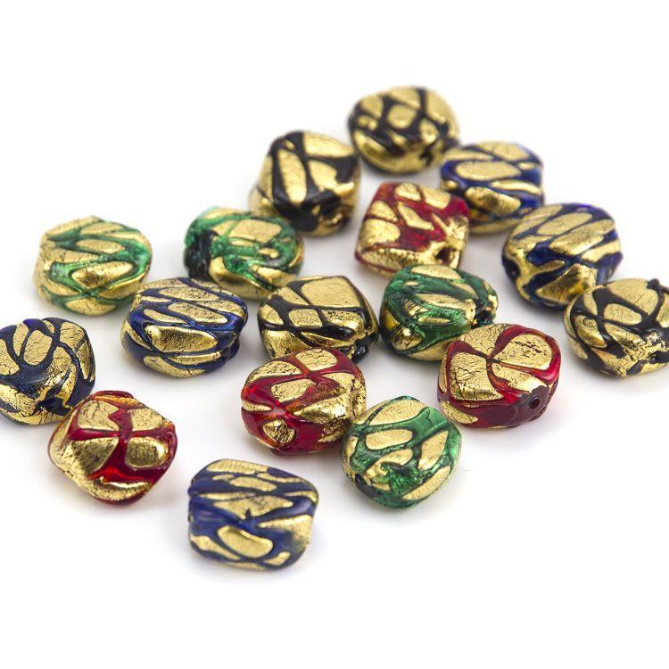 Perla di Murano sasso 16 mm vetro colorato maculato foglia oro