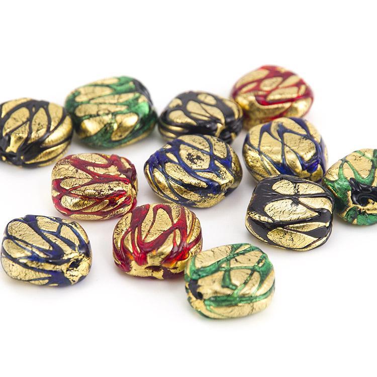 Perla di Murano sasso 20 mm vetro colorato maculato foglia oro