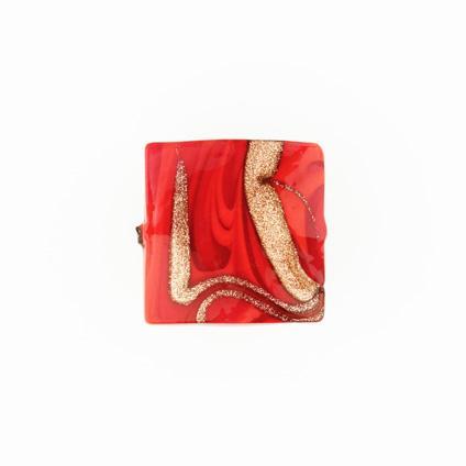 Perla di Murano schissa Fenicio Ø18. Vetro rosso e avventurina. Foro passante.