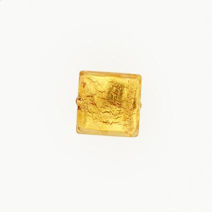 Perla di Murano schissa quadrata Ø14. Vetro sommerso ambra, foglia oro. Foro passante.