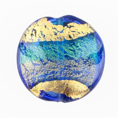 Perla di Murano schissa Sommersa Ø24. Vetro acquamare, bluino, foglia oro. Foro passante.