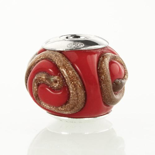 Perla di Murano stile Pandora Vortice Ø13. Vetro rosso e avventurina. Borchia argento 925. Foro passante.