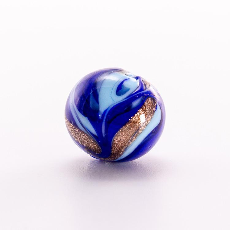 Perla di Murano tonda vetro fenicio blu e azzurro Ø16. Foglia oro o argento con avventurina. Foro passante.