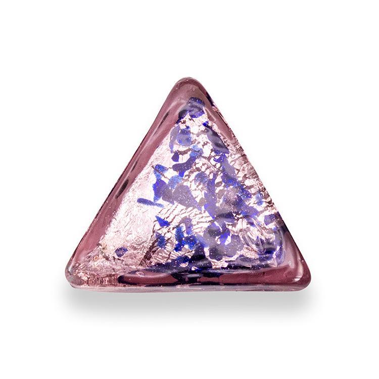 Perla di Murano triangolare 25 mm per gioielli vetro, vetro sommerso ametista foglia argento. Foro passante.