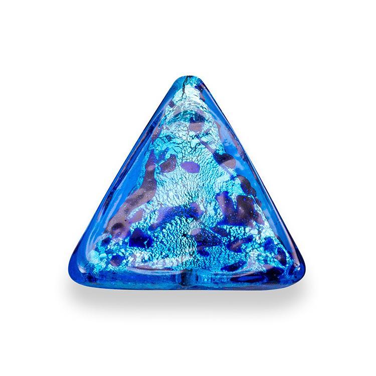 Perla di Murano triangolare 25 mm per gioielli vetro, vetro sommerso blu foglia argento. Foro passante.