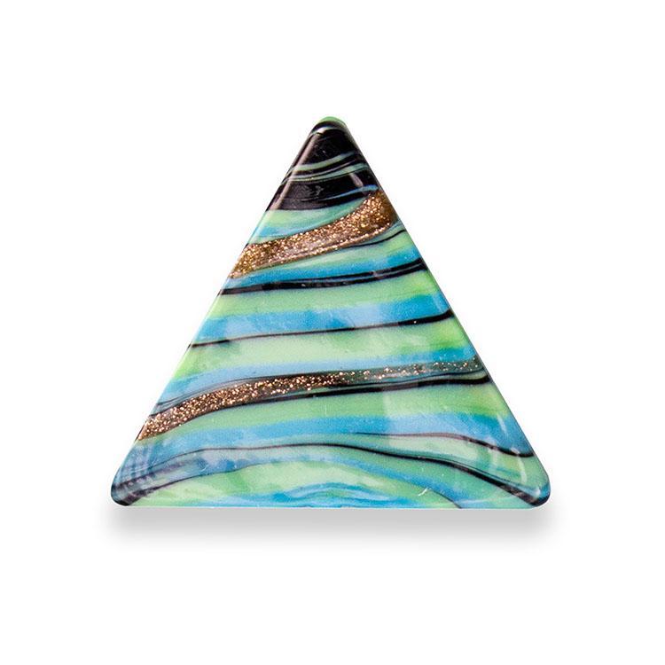 Perla di Murano triangolare 25 mm. Pasta vitrea variegata melange verde e avventurina. Foro passante.