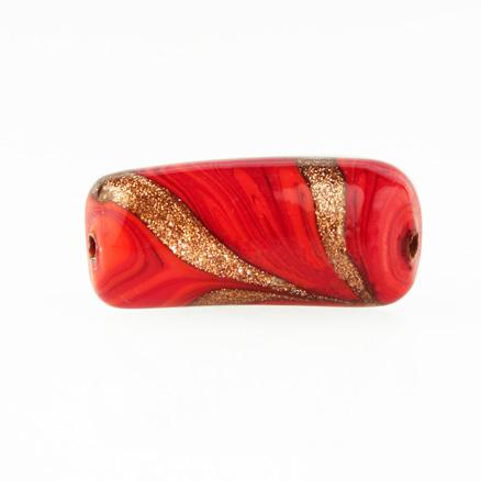 Perla di Murano tubo curvo Fenicio Ø9x23. Vetro bianco, rosso e avventurina. Foro passante.