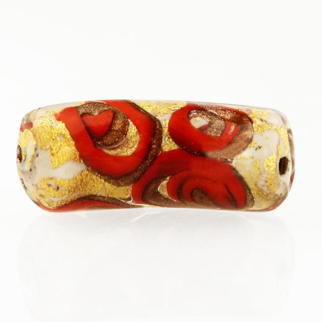 Perla di Murano tubo curvo Medusa Ø9x22. Vetro bianco, rosso, foglia oro e avventurina. Foro passante.