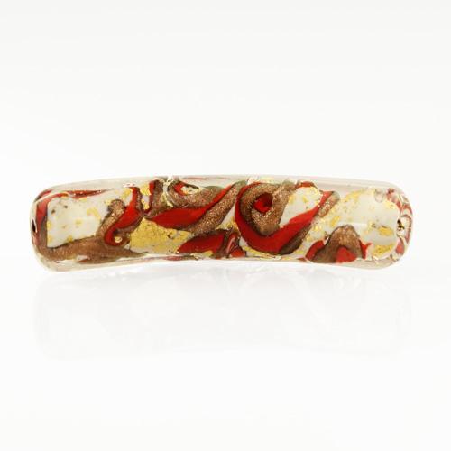 Perla di Murano tubo curvo Medusa Ø9x42. Vetro bianco, rosso, foglia oro e avventurina. Foro passante.