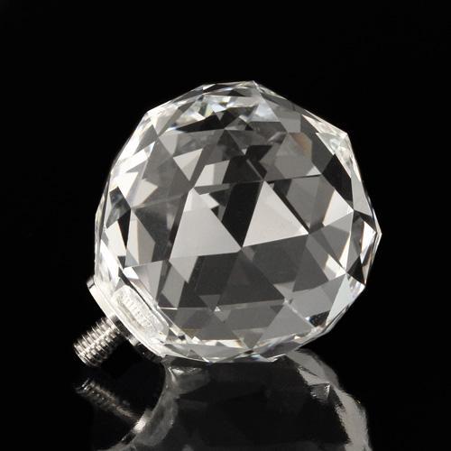 Pomello cristallo molato Ø20 colore puro attacco M4 maschio nickel