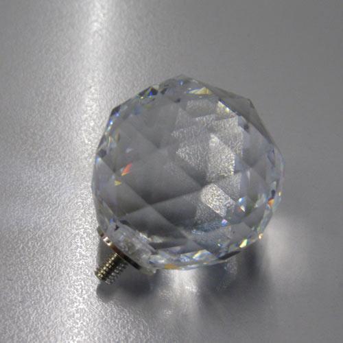 Pomello cristallo molato Ø30 colore puro attacco M4 femmina nickel