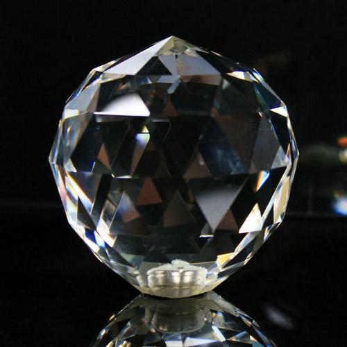 Pomello cristallo molato Ø70 colore puro attacco M6 femmina nickel