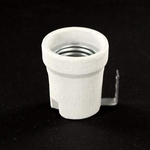 Portalampada E27 in ceramica con staffa a 90°