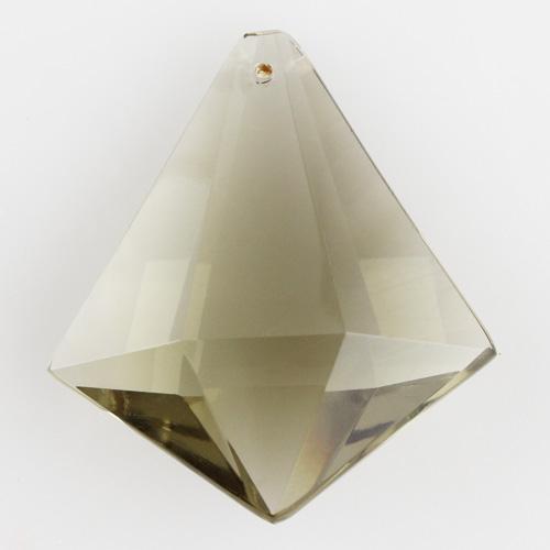 Prisma sfaccettato in puro cristallo di Boemia 50 mm. Cristallo forma romboidale colore fumè.