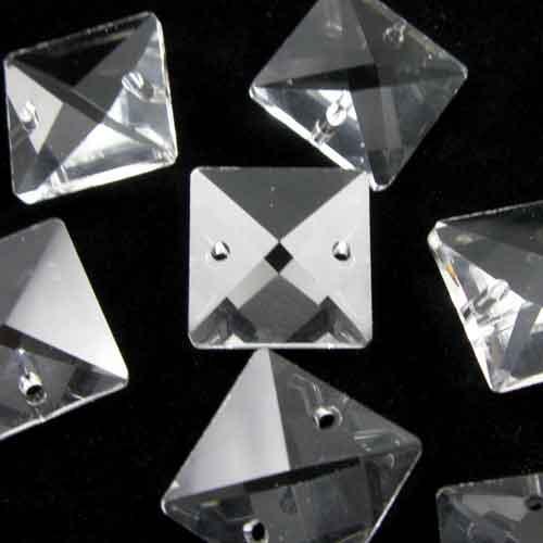 Quadruccio 14 mm colore puro trasparente cristallo vetro sfaccettato 2 fori