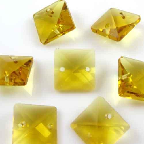 Quadruccio 14 mm giallo cristallo vetro sfaccettato 2 fori