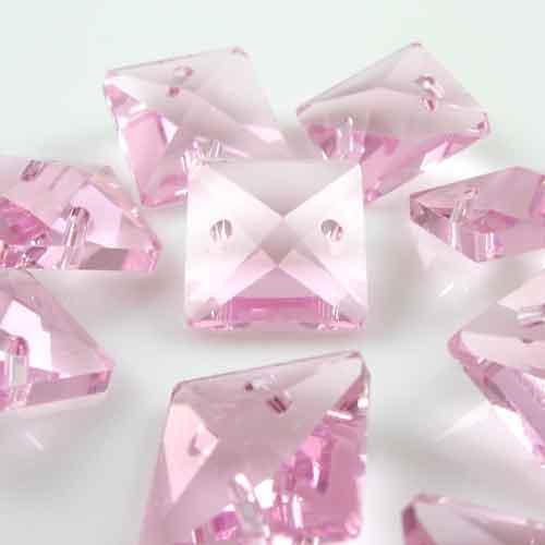 Quadruccio 14 mm rosa cristallo vetro sfaccettato 2 fori