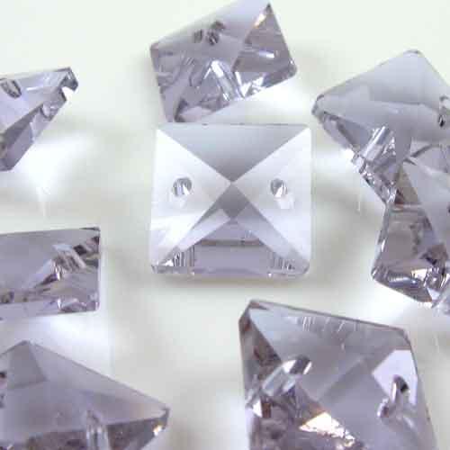 Quadruccio 14 mm viola alessandrite cristallo vetro sfaccettato 2 fori