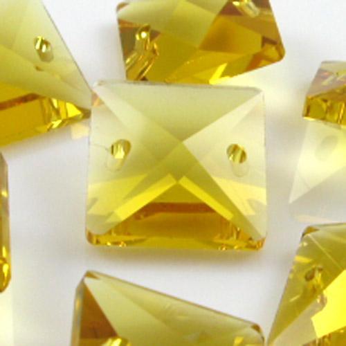 Quadruccio 16 mm giallo cristallo vetro sfaccettato 2 fori