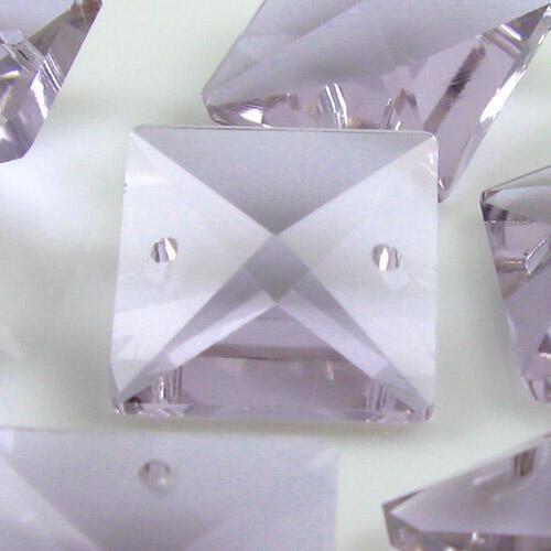 Quadruccio 18 mm viola alessandrite cristallo vetro sfaccettato 2 fori