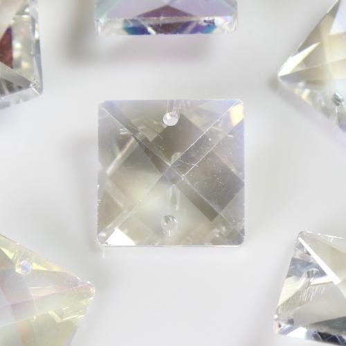 Quadruccio 20 mm aurora boreale cristallo vetro sfaccettato 2 fori