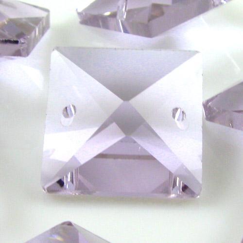Quadruccio 20 mm viola alessandrite cristallo vetro sfaccettato 2 fori