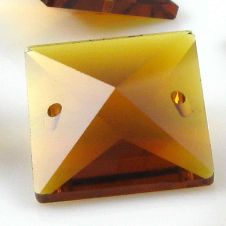 Quadruccio 22 mm ambra caldo cristallo vetro sfaccettato 2 fori