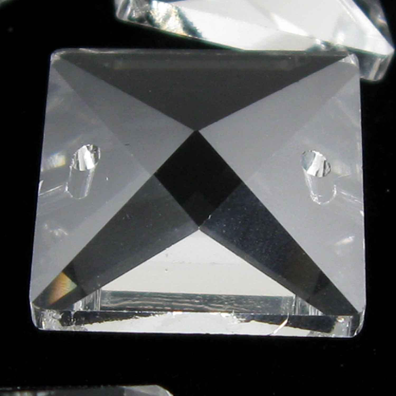 Quadruccio 22 mm colore puro trasparente cristallo vetro sfaccettato 2 fori