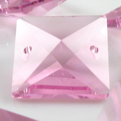 Quadruccio 22 mm rosa cristallo vetro sfaccettato 2 fori