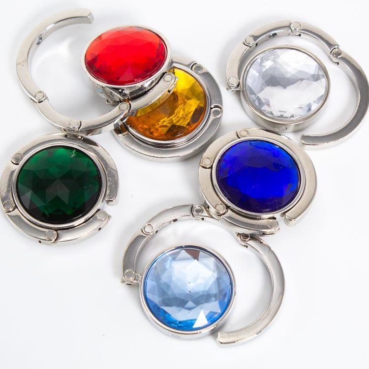 Reggiborsa da tavolo con grande cristallo strass vari color pieghevole in metallo cromato