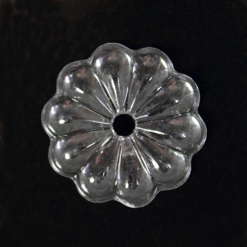 Rosellina 20 mm, rosetta in cristallo acrilico, colore trasparente, foro centrale