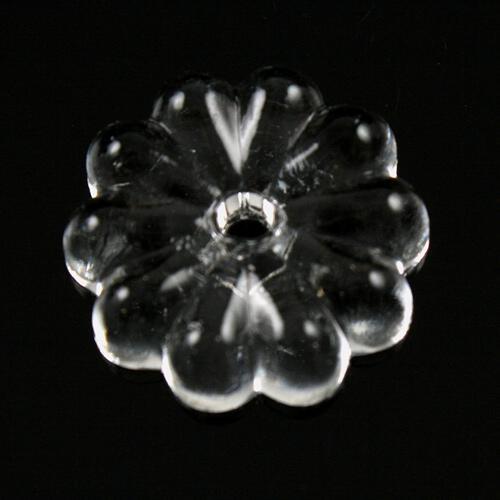 Rosellina 20 mm, rosetta in vetro veneziano cristallino, foro centrale