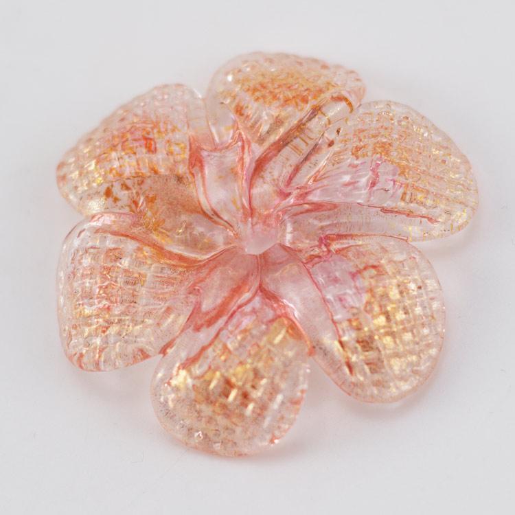 Rosellina a fiore in vetro di Murano colore oro e rosa polvere su cristallo fatto a mano Ø50 mm con foro centrale 6 mm