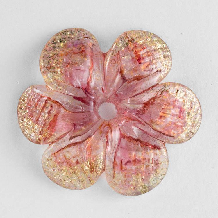 Rosellina a fiore in vetro di Murano colore oro e rosa su cristallo fatto a mano Ø50 mm con foro centrale 6 mm