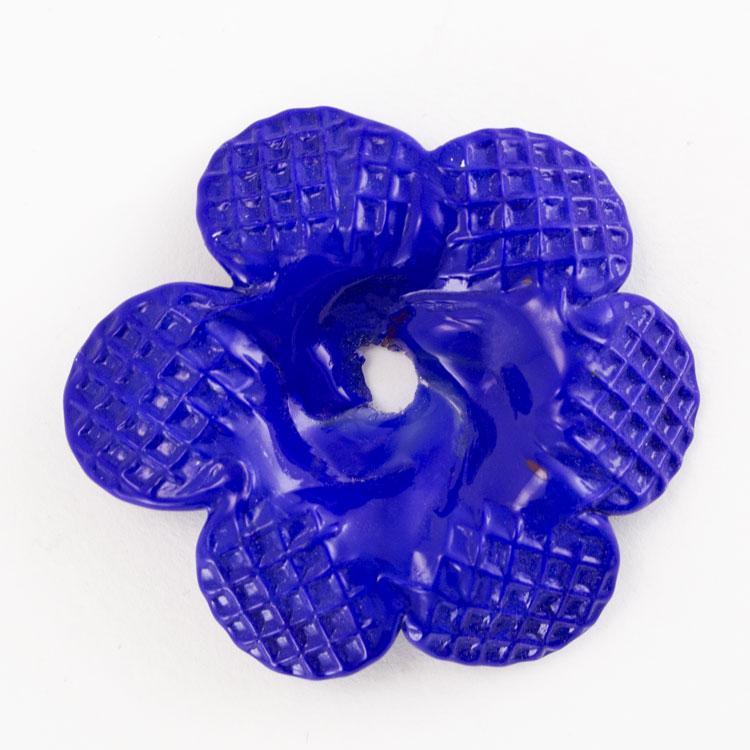 Rosellina a fiore in vetro di Murano colore pasta blu cobalto fatto a mano Ø50 mm con foro centrale