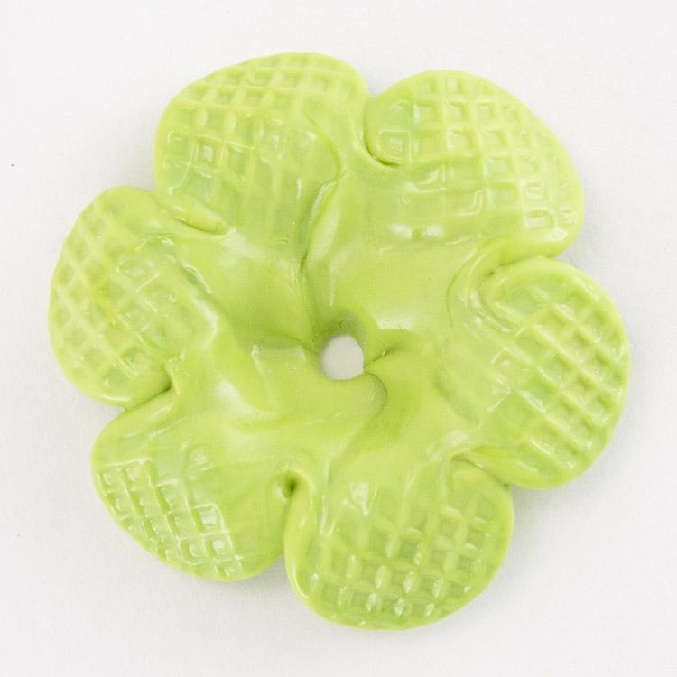 Rosellina a fiore in vetro di Murano colore pasta verde fatto a mano Ø50 mm con foro centrale
