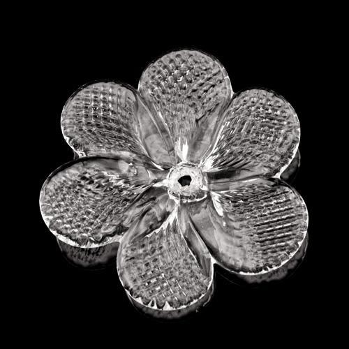 Rosellina, fiore fatto a mano in vetro di Murano, colore cristallo Ø80 mm con foro centrale.