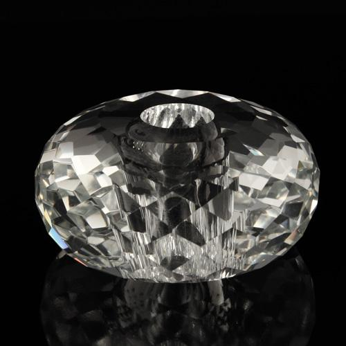 Sfera in cristallo molato e sfaccettato colore puro Ø60 mm h28 mm foro Ø14 mm passante