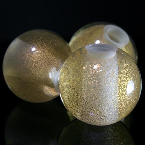 Sfera in vetro di Murano foglia oro, Ø50 mm, foro passante 14 mm