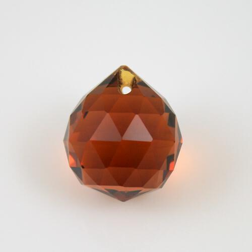 Sfera sfaccettata 20 mm vetro molato ambra caldo