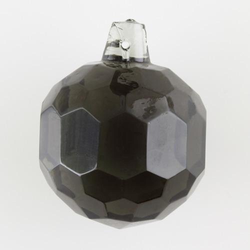 Sfera sfaccettata in cristallo antico di Boemia Ø40 mm grigio scuro. Per restauri illuminazione vintage.