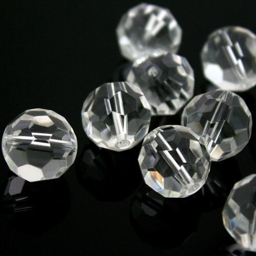 Sfera sfaccettata Ø 20 mm foro passante, cristallo vetro molato