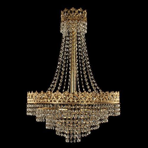 Sospensione stile Impero con allestimento in cristalli molati trasparenti, struttura oro.