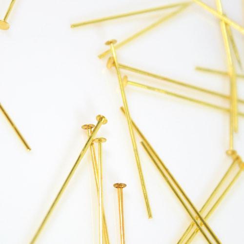 Spillo a chiodo ottone brillante 30 mm per cristalli e perle filo 0,7 mm