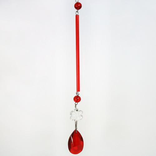 Strenna decorativa con cannetta in vetro rosso, lunghezza 8 cm, Ø 4  mm con perla tondino, fiocco di neve e mandorla.