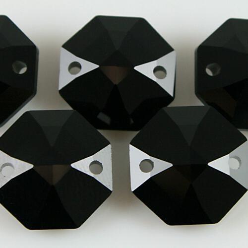 Swarovski - Cristallo ottagono doppio foro Black Jet 14 mm - 8116 -