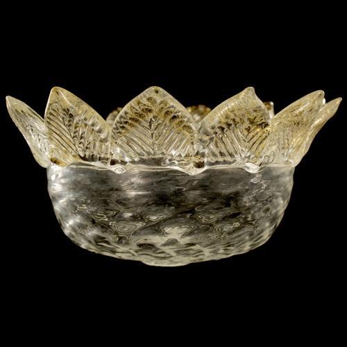 Tazza ricambio vetro Murano Ø16 cm color cristallo e oro MD a 12 punte.